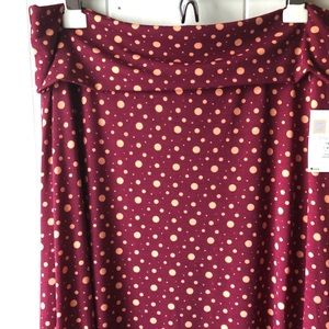 LuLaRoe Polka Dot Maxi Skirt in Raspberry Red